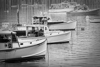 Lobster Boats In Bass Harbor And Bernard Maine  Poster