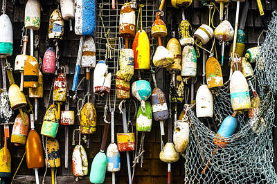 Lobster Buoys And Fishing Net Poster