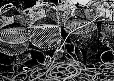 Lobster Pots In Black And White Poster by Angela Rowlands