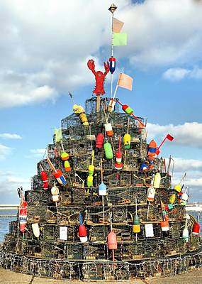 Lobster Traps Christmas Tree Poster
