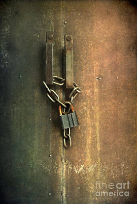 Locked Gate With A Keychain And Keylock Poster