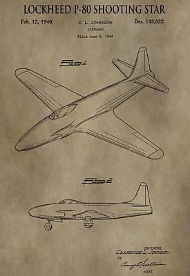 Lockheed P-80 Patent Poster by Dan Sproul