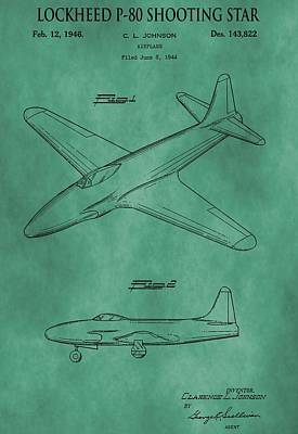Lockheed P-80 Patent Green Poster by Dan Sproul