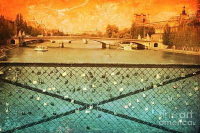 Locks Over The Seine With Textures Poster