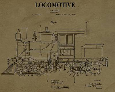 Locomotive Patent Postcard Poster