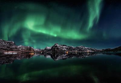 Lofoten Aurora Reflection Poster