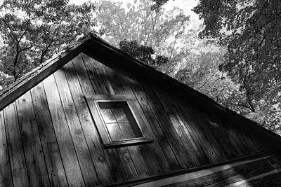Log Cabin Bw Version Poster by Sheryl Burns