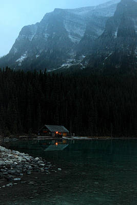 Log Cabin By The Lake Poster