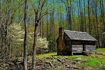 Log Cabin In The Smoky Mountain National Park Poster