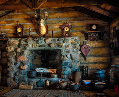 Log Cabin With Fireplace Poster