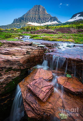 Logan Pass Waterfall Poster by Inge Johnsson