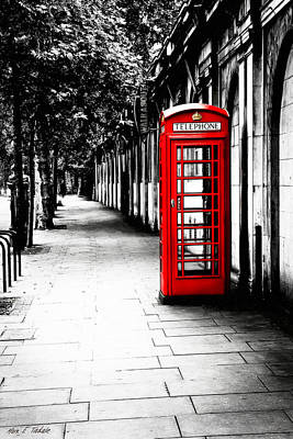 London Calling - Red Telephone Box Poster by Mark E Tisdale