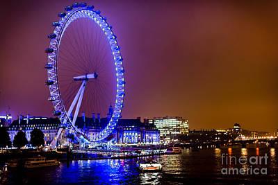 Poster featuring the photograph London Eye Night Glow by Matt Malloy