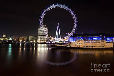 Poster featuring the photograph London Eye Night by Matt Malloy
