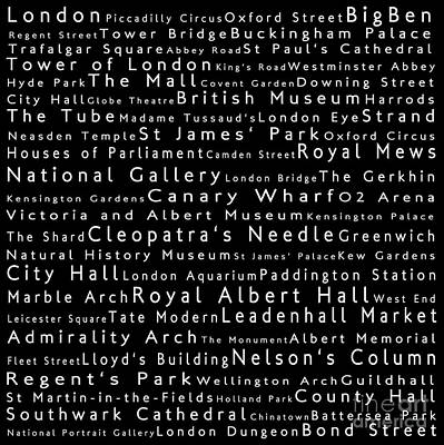 London In Words Black Poster by Sabine Jacobs