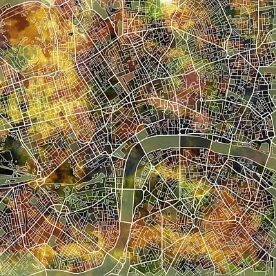 London Map Brown Poster