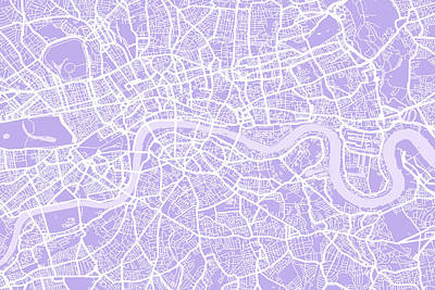 London Map Lilac Poster by Michael Tompsett