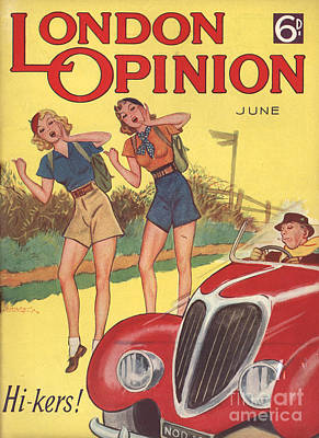 London Opinion 1930s Uk     Hitchhiking Poster by The Advertising Archives