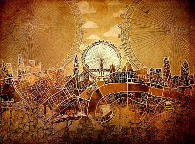 London Skyline Old Vintage  Poster
