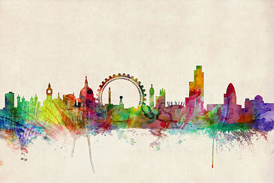 London Skyline Panoramic Poster by Michael Tompsett