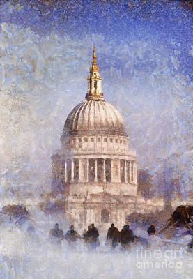 London St Pauls Fog 02 Poster by Pixel Chimp
