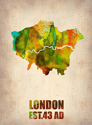 London Watercolor Map 1 Poster by Naxart Studio