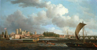 London, Westminster From Lambeth, With The Ceremonial Barge Poster by Litz Collection
