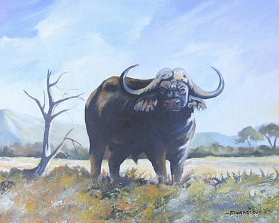 Poster featuring the painting Lone Bull by Anthony Mwangi
