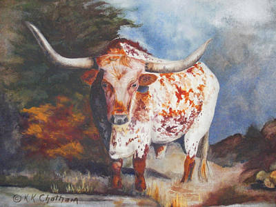 Poster featuring the painting Lone Star Longhorn by Karen Kennedy Chatham