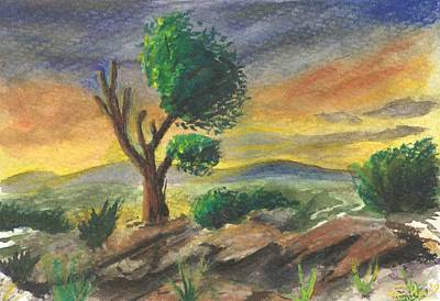 Poster featuring the painting Lone Tree At Sunset by Sherril Porter