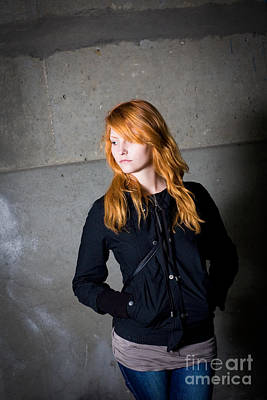 Loneliness - Moody Portrait Of A Beautiful Young Redhead Girl. Poster by Alstair Thane