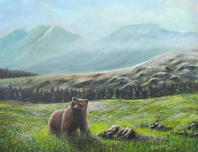 Poster featuring the painting Lonely Bear by Bozena Zajaczkowska