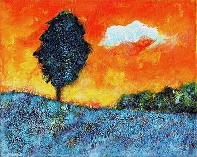 Lonely Tree Orange Sky Poster by Ion vincent DAnu