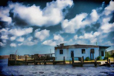 Old Shrimp Boat Dock - Lonesome Boat Dock Poster