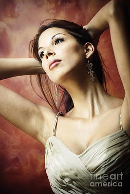 Long Dark Haired Brunette Woman With Brown Eyes Looking Away With Hands Behind Her Head Poster