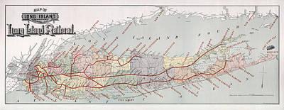 Long Island Railroad Map 1895 Poster by Daniel Hagerman
