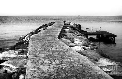 Long Walk To The Sea - Black And White Poster