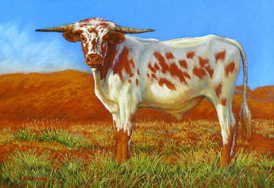 Poster featuring the painting Longhorn In The Australian Outback by Margaret Stockdale