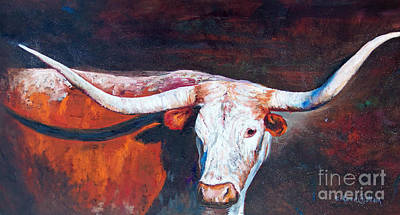 Poster featuring the painting Longhorn Legacy by Karen Kennedy Chatham