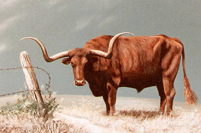 Poster featuring the painting Longhorn Steer by DiDi Higginbotham