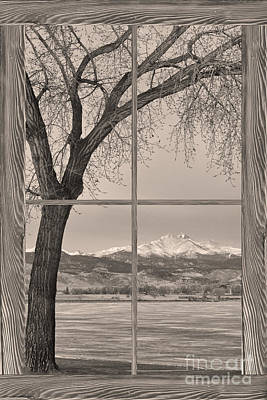 Longs Peak Winter Lake Barn Wood Picture Window Sepia View Poster by James BO  Insogna