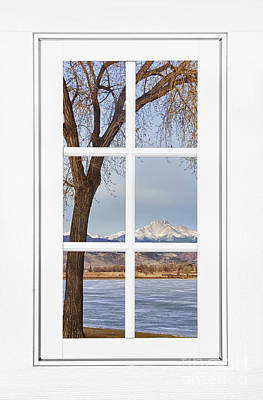 Longs Peak Winter View Through A White Window Frame Poster