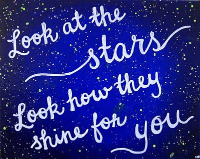 Look At The Stars Quote Painting Poster by Michelle Eshleman