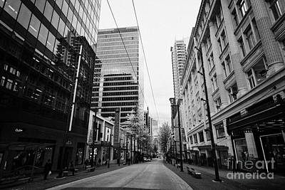 looking down granville street shopping area between the bay and pacific centre Vancouver BC Canada Poster