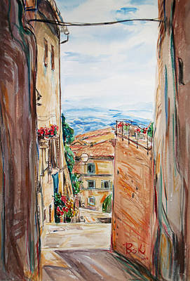 Poster featuring the painting Looking Down The Village by Becky Kim