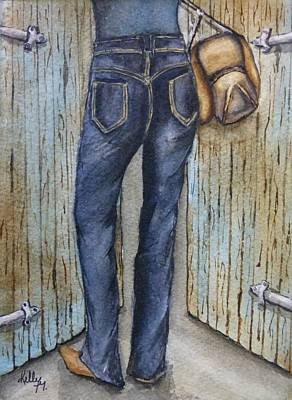 Poster featuring the painting Blue Jeans A Hat And Looking Good by Kelly Mills