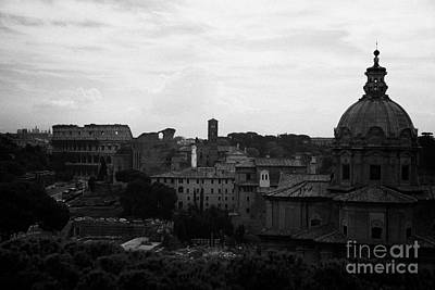 Looking Out Over Rome Including Skyline With The Colosseum And Dome Of Santi Luca E Martina With The Imperial Roman Forum Below Lazio Italy Poster