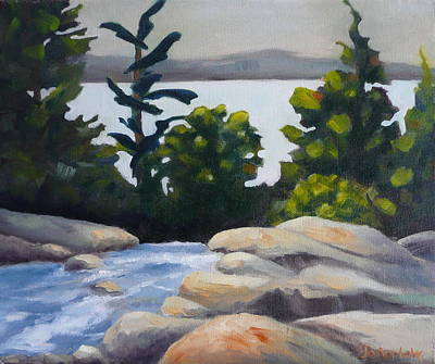 Poster featuring the painting Looking Out Over Rosseau Falls by Jo Appleby