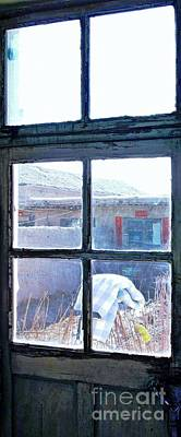Poster featuring the photograph Looking Out The Kitchen Door In February by Ethna Gillespie