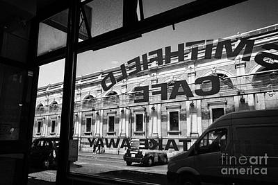 Looking Out Through Small Cafe Window At Smithfield Market London England Uk Poster